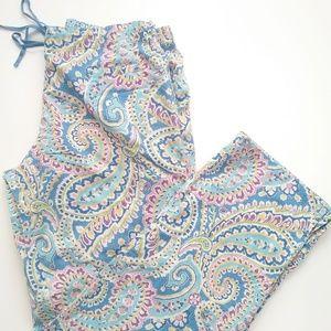 Vera Bradley Capri Blue Paisley Pajama Pants MED